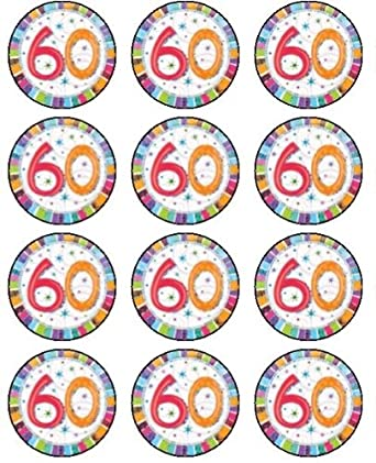 12 X 15quot 38mm 60th Birthday Edible Rice Paper Fairy Cup Cake Toppers
