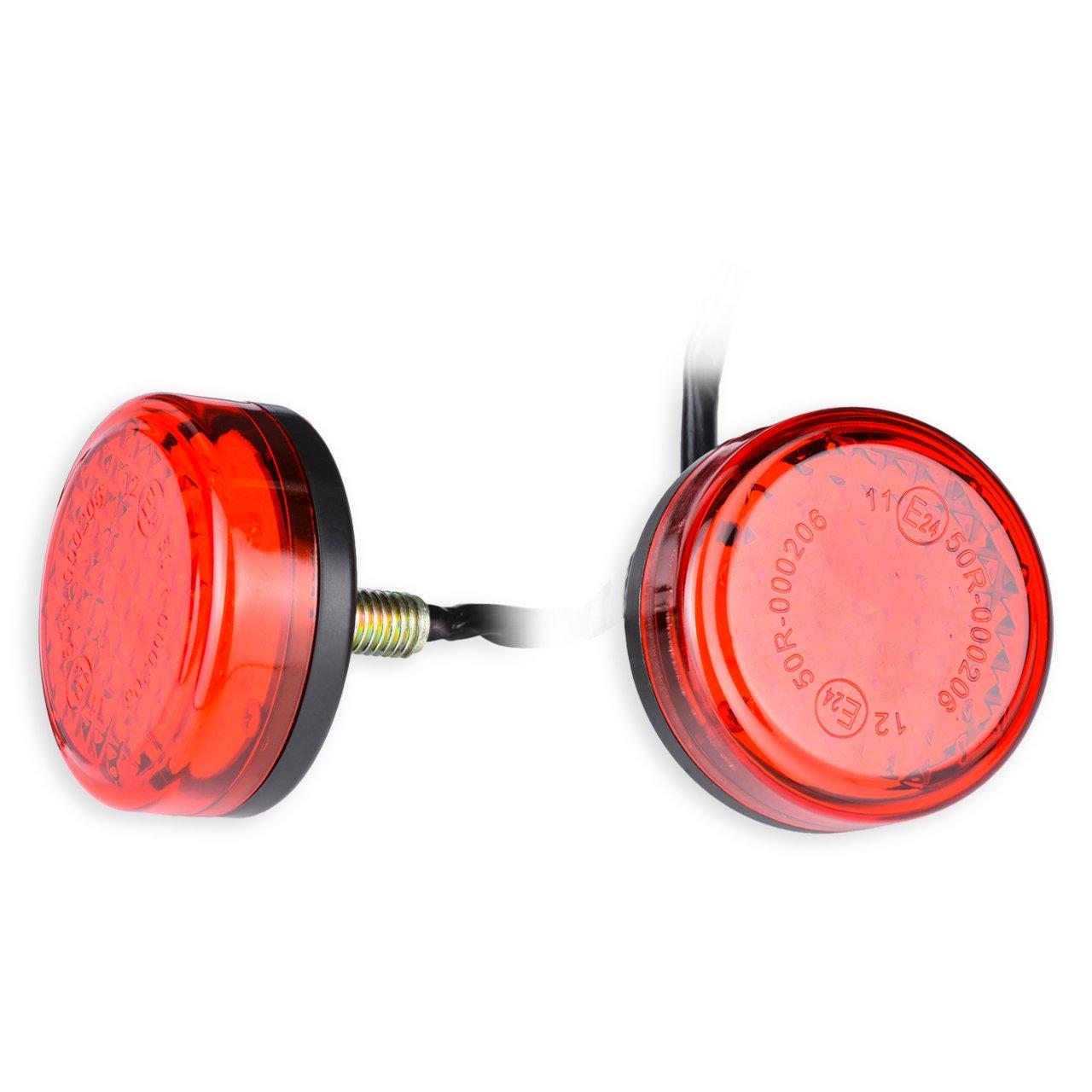 KaTur Wasserdicht Rot 24 LED Runde Reflektoren Heckbremse Stop Begrenzungsleuchte LKW Anh/änger RV ATV Motorrad
