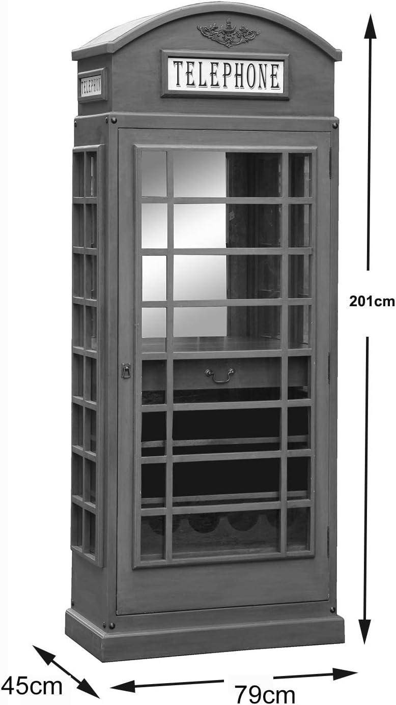 TELEPHONE BOX WINE RACK HAND MADE RETRO BOTTLE STORAGE