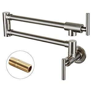 WOWOW Pot Filler Faucet Folding Wall Mount Commercial Sink Faucet 2 Handles Brushed Nickel Kitchen Faucet Lead-free Brass with Single Hole Double Joint Swing Arm Kitchen Faucets for Kitchen Restaurant