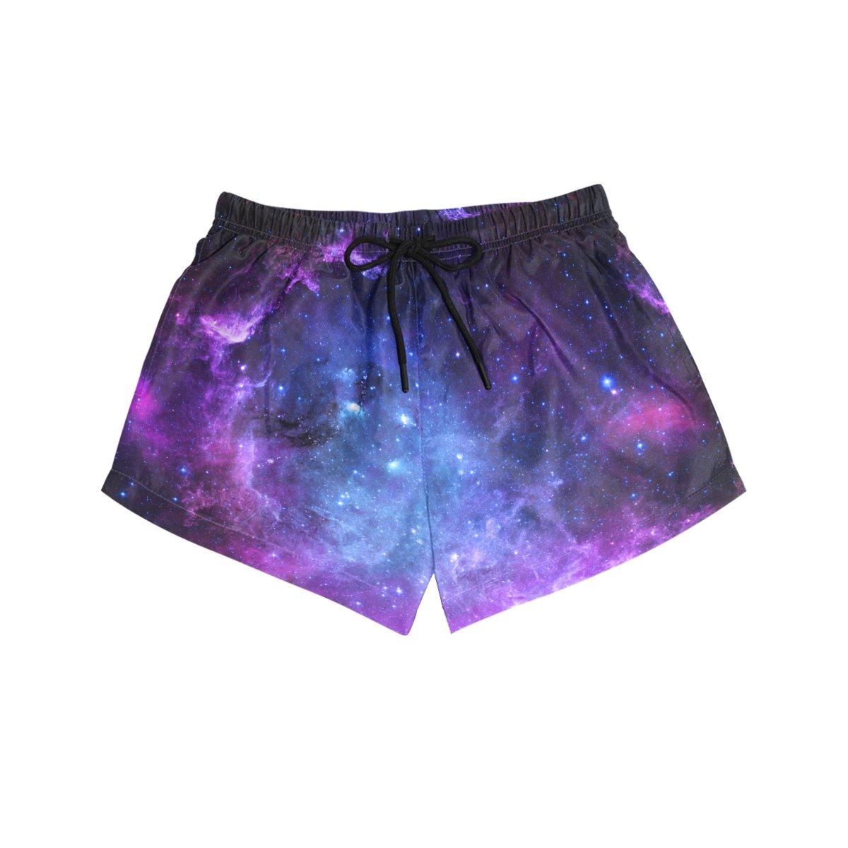 U LIFE Galaxy Space Universe Stars Women's Beach Shorts Pants Summer Yoga Gym Sports Girls Short