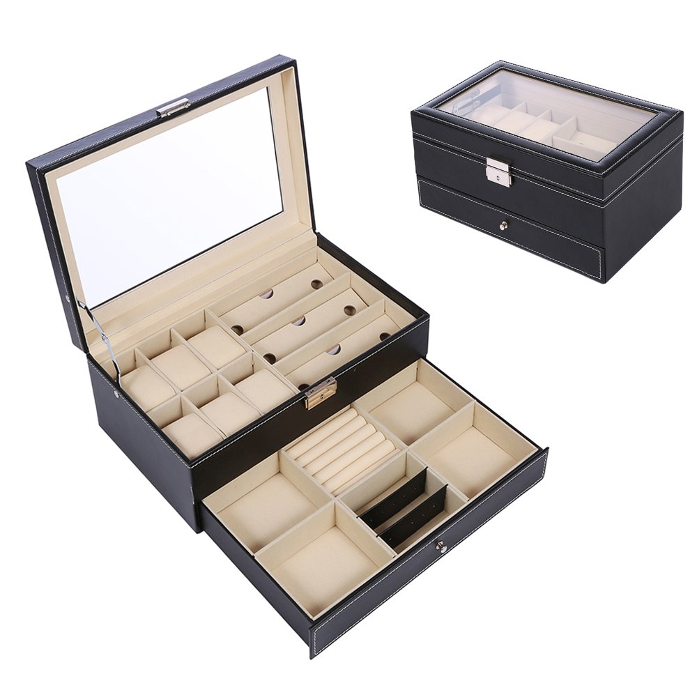 gootrades Double-layer Watch Sunglass Jewelry Case,6 Watches 3 Sunglasses,PU Leather Glass Lockable Holder