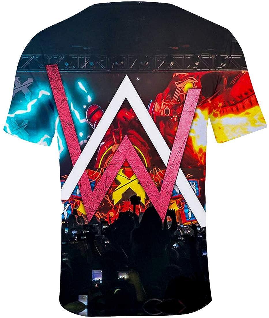 OLIPHEE Herren T-Shirt mit 3D Alan Walker Aufdruck Sommer Rundhals Oberteile Top