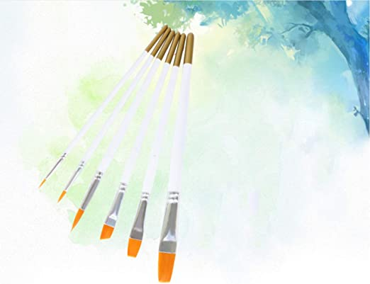 Paint Brush-6Pcs Penta Angel Art Paint Brushes Set 6 Size Nylon Hair Acrylic Watercolor Oil Face Body Profession Detail Painting Brushes for Kids Artist DIY Craft Project