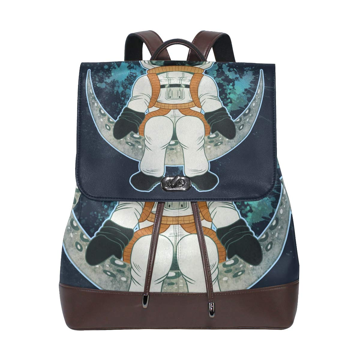 PU Leather Shoulder Bag,Spaceman Sitting On The Moon Backpack,Portable Travel School Rucksack,Satchel with Top Handle