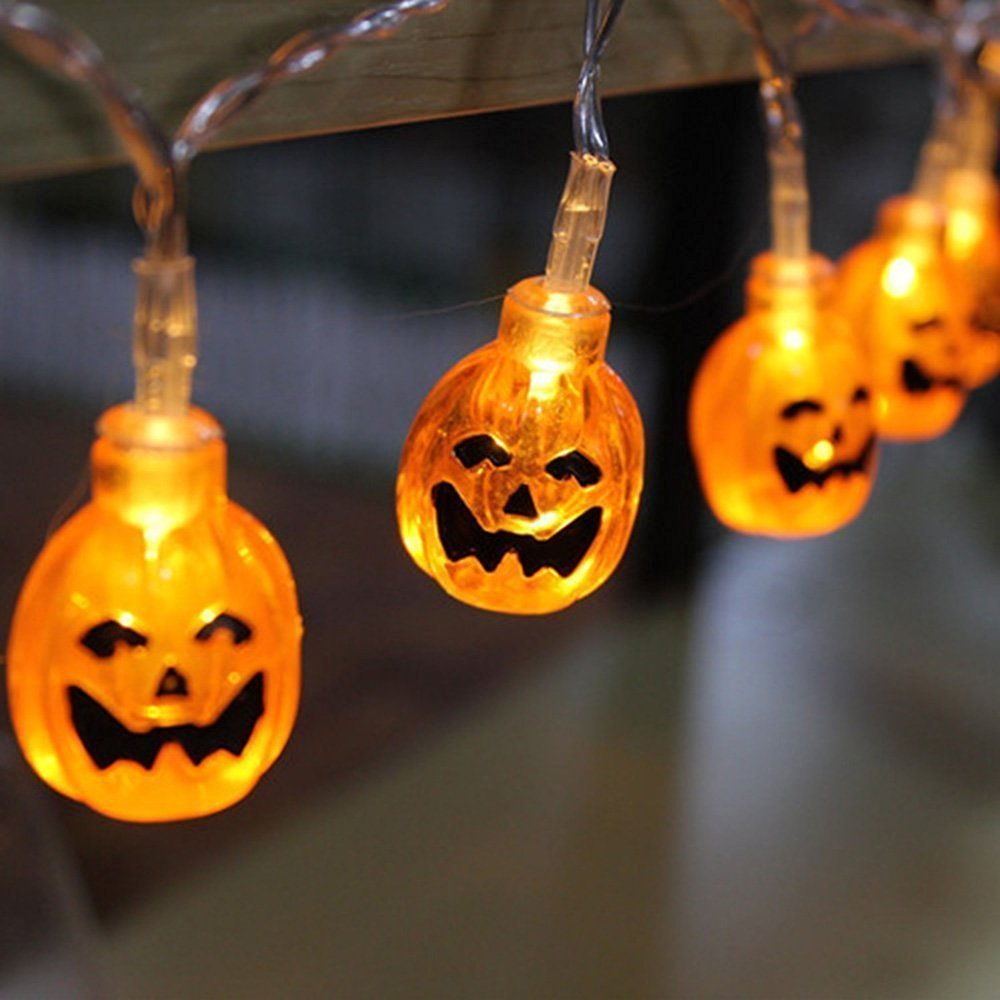 Pumpkin String Lights CFTech 16 ft 40 LED Fairy Lights Battery Operated Waterproof for Halloween Garden Patio Bedroom Party Decor Indoor Outdoor Celebration Lighting, Warm White (2M 20 Lights)