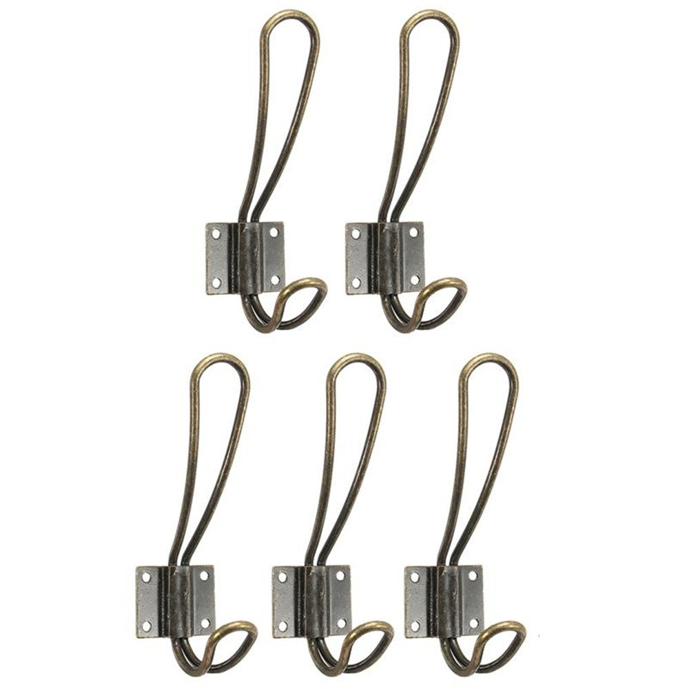 5Pcs/Set Bronze Vintage Coat Hooks Wall Hanging Hanger Pegs Clothes Keys Caps Holder Home Kitchen Bathroom by Xiaolanwelc