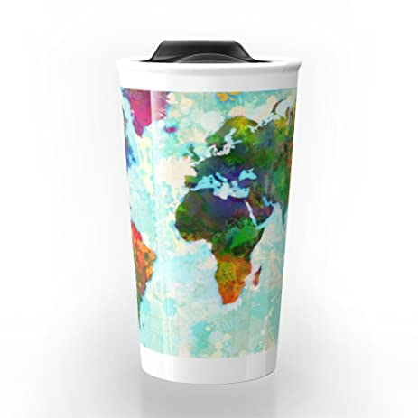 Amazon society6 abstract watercolor world map travel mug 12 oz society6 abstract watercolor world map travel mug 12 oz gumiabroncs Choice Image