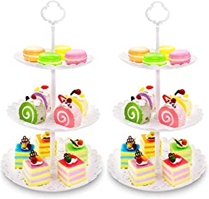Imillet Two Pack of Three Tier Cake Stand Fruit Plate Plastic Stand of White for Cakes Desserts Fruits Dried Fruit Candy Buffet Stand for Wedding Home Holiday Birthday Party (big)