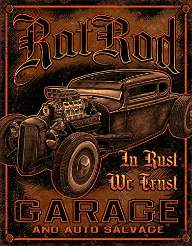Desperate Enterprises Rat Rod Garage Tin Sign, 12.5
