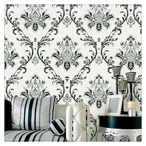 "HaokHome 1004 Damask Wallpaper Rolls Off White/Black/Silver Textured Wall Decoration 20.8"" x 32.8ft"