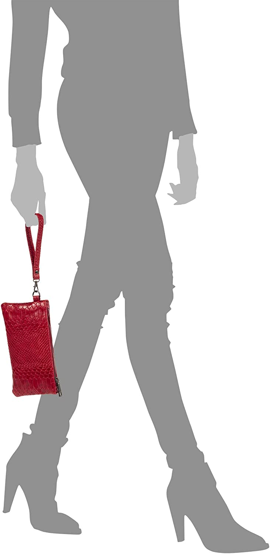 Vera Pala Italiana.21x2,5x11 cm Fiorella Borsa a Mano Donna Vera Pelle Panno Inciso Serpente Borsa a Mano.Made in Italy Colore: rosso scuro. FIRENZE ARTEGIANI
