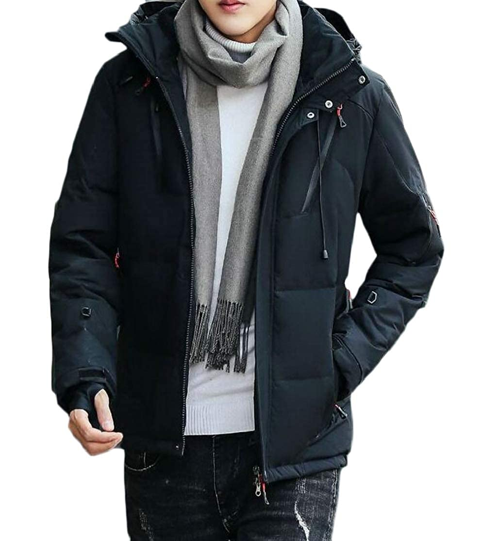 Cromoncent Mens Casual Cotton Padded Hooded Fleece Outdoors Parkas Coat