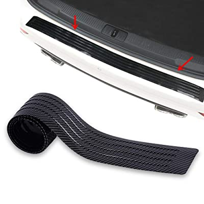 runmade Carbon Fiber Style Rubber 41 inch Rear Bumper Protector Guard Door Entry Sill Guard - Universal fit for Car SUV Pickup Truck Boat Non-SLI Scratch-Resistant Boot Sill Protector (104 cm): Automotive