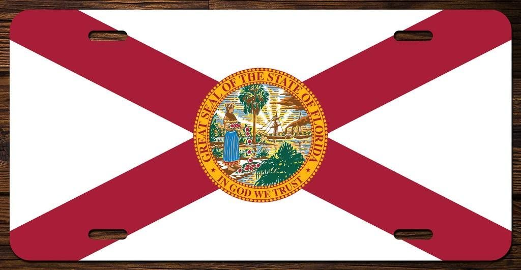 Florida State Flag Vanity Front License Plate Tag Printed Full Color KCFP007