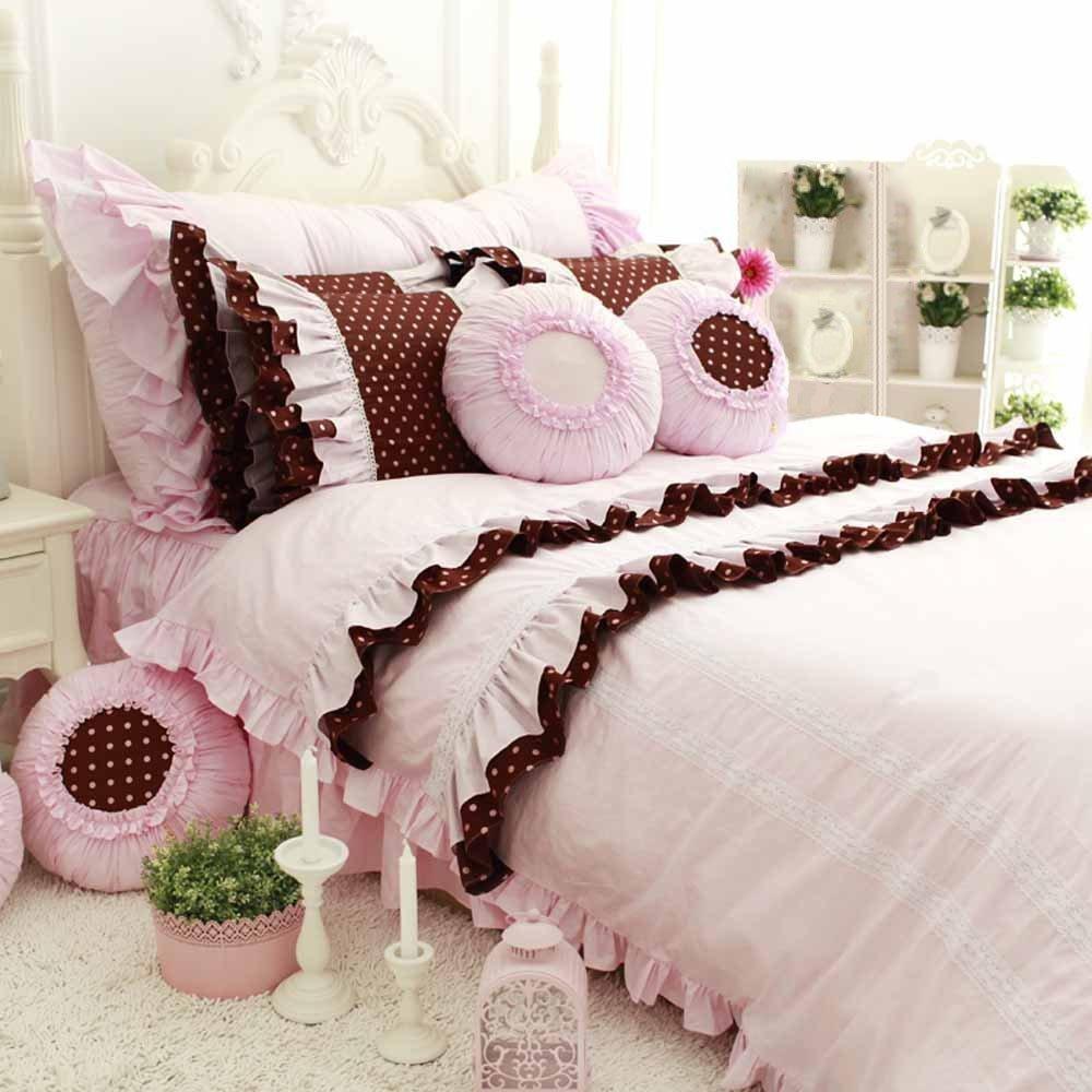 TideTex 4-piece Romantic Vintage Bedding Set Fashion Lace Flouncing Duvet Cover Set European Rural Cotton Home Textiles Sets Cute Girl Bed Skirt Sets Princess Bedding (California King, Photo color)