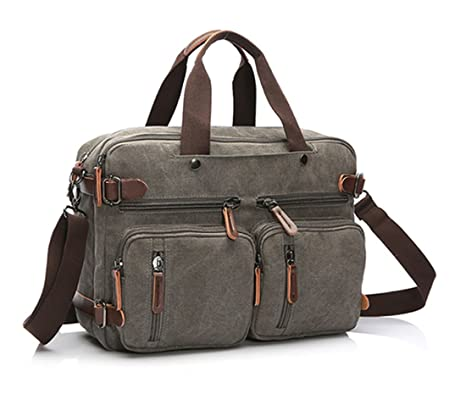 "333b28b3eef Image Unavailable. Image not available for. Color  Gudui 15.6"" Men s  Messenger Bag Vintage Retro Canvas Convertible Backpack Shoulder Laptop  Bags Business ..."