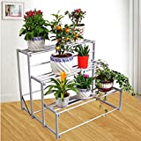 LIZX 3 Tier Aluminum Folding Flower Frame Multifunction Shelf Bedroom Living Room Creative Storage Rack