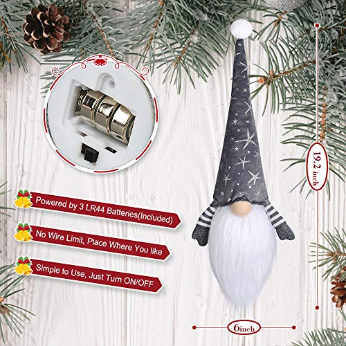LURLIN Gnome Christmas Decorations with Led Light, 2 Pack Handmade Swedish Tomte Gnomes, Scandinavian Santa Elf Plush…