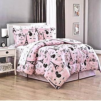 teen girls 8 piece full size pink paris chic eiffel tower parisian theme french. Black Bedroom Furniture Sets. Home Design Ideas