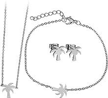 Lady Bling Bling Damen Schmuck-Set Halskette mit Anhänger, Armband und Ohrringe aus Edelstahl Palme inkl. Etui