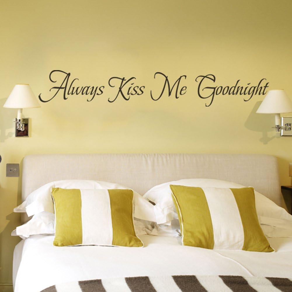 MairGwall Always Kiss Me Goodnight Wall Decal Couple Room Master Bedroom  Wall Decor (Dark Brown, Medium)