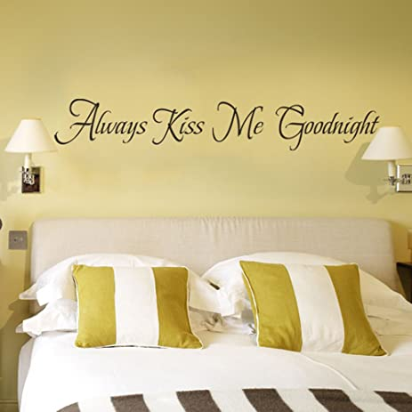 Charmant Always Kiss Me Goodnight Wall Decal Couple Room Master Bedroom Wall Decor  (Black, Large