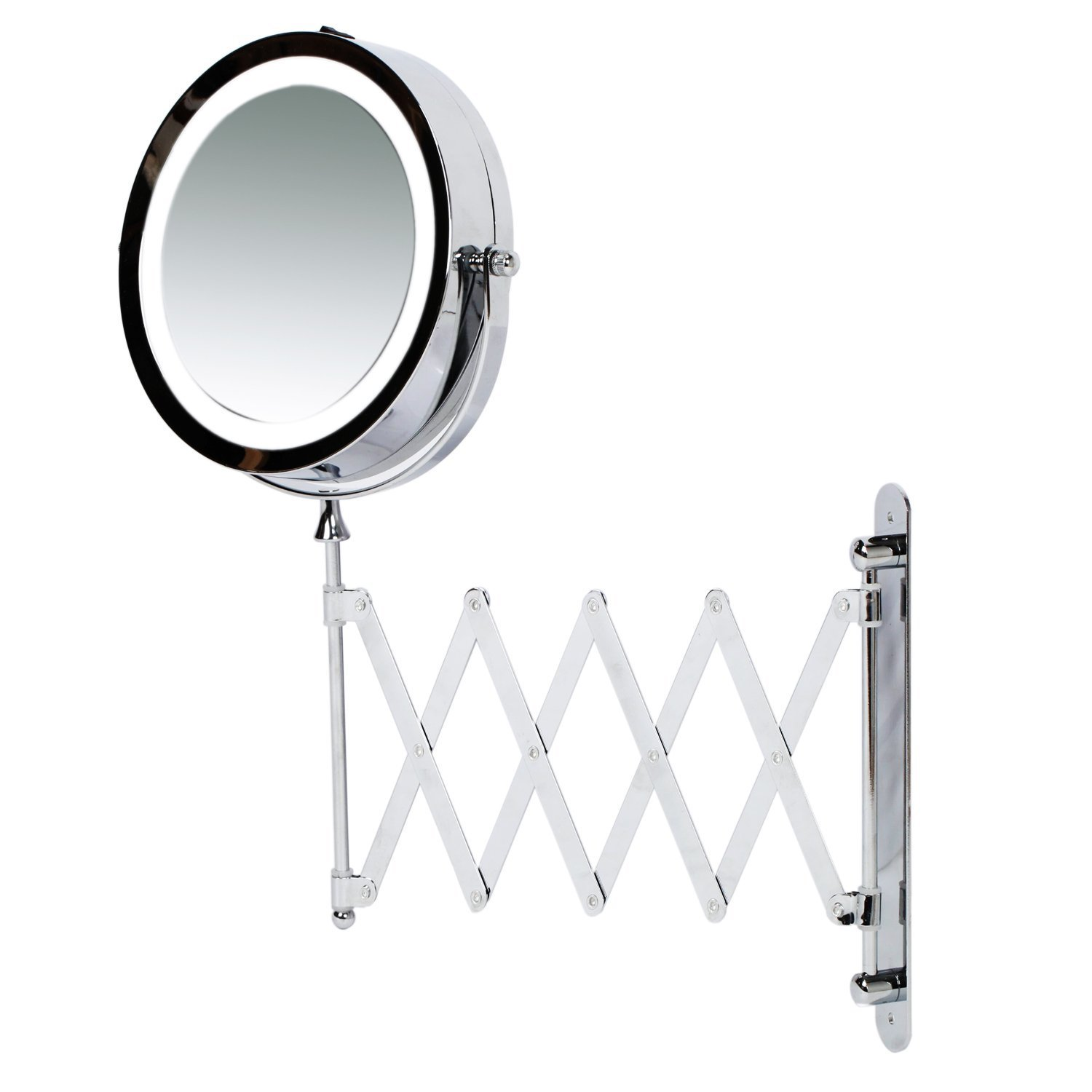 folding for lighted wall of extendable ideas mirror gold mount makeup amazing bathroom mounted janosnagy lights table magnifying mirrors light with vanity image amazon
