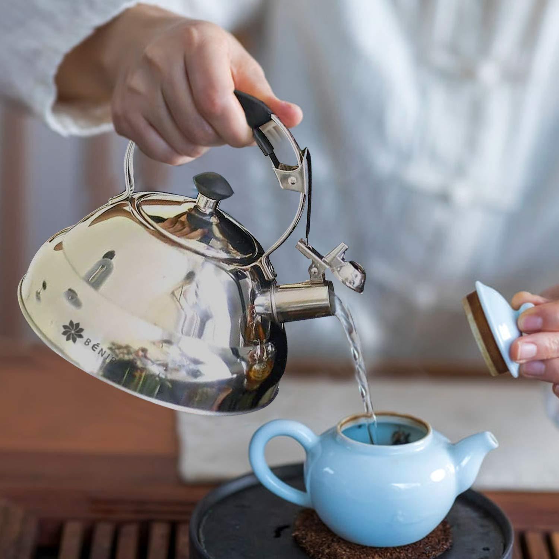 Benir Tea Kettle 2.75 Quart Stainless Steel Whistling Tea Pot for Stove Top