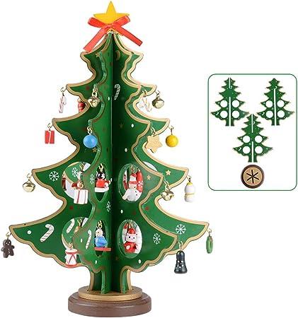 SERWOO (Altura 28cm) Navidad Árbol Madera Adorno Decoración Navideño Mesa Hogar Fiesta Regalo Bricolaje Dibujos Animados a Montar para Familiares Amigos - Verde: Amazon.es: Hogar