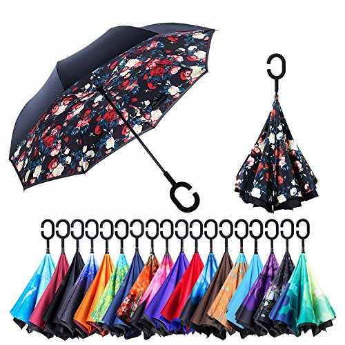 NewSight Reverse/Inverted Double-Layer Waterproof Straight Umbrella, Self-Standing & C-Shape Handle & Carrying Bag for Free Hands, Inside-Out Folding for Car Use (Bella Flower) ()