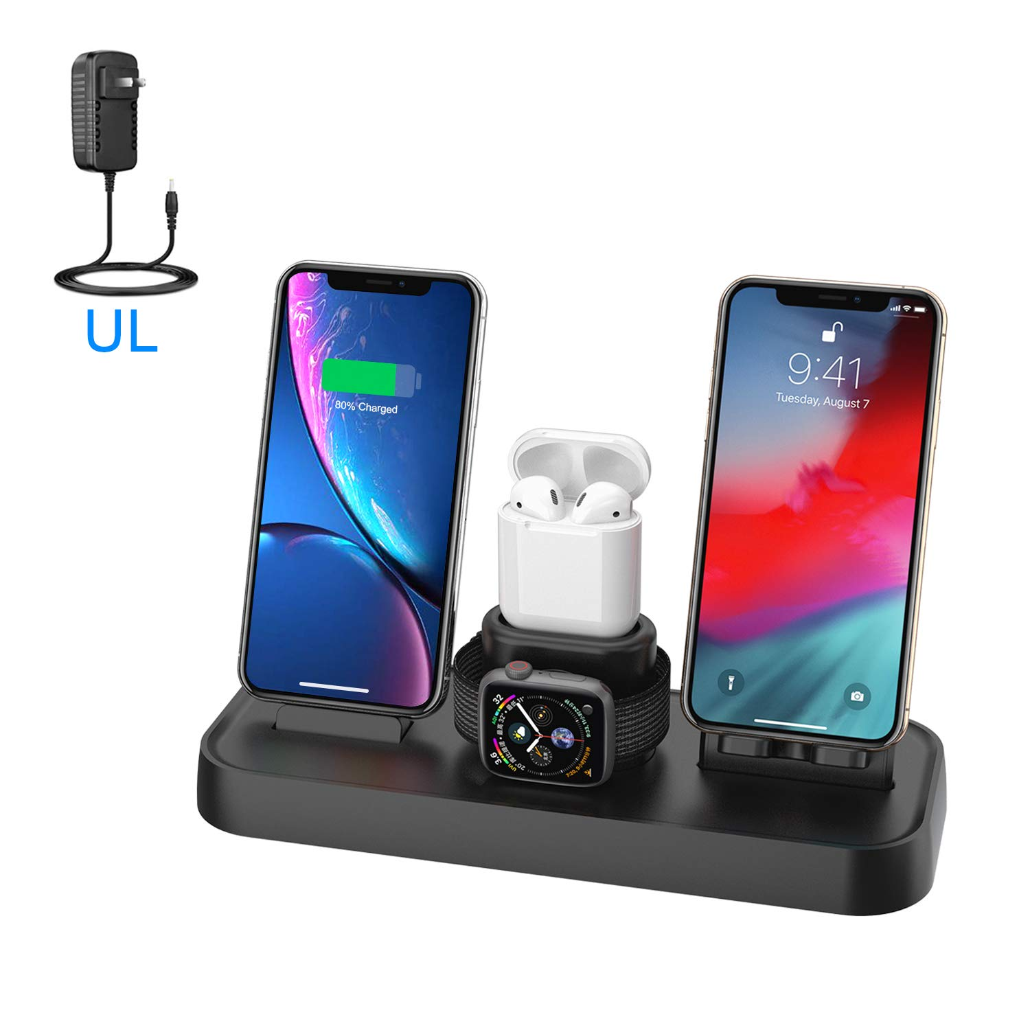 Wireless Charger, 4 in 1 Charging Station for Apple, Wireless Charging Pad Stand with Apple Watch Charger Stand, Apple Watch Charging Stand with AirPods Dock Wireless Charger for iPhone iWatch Airpods by XDODD