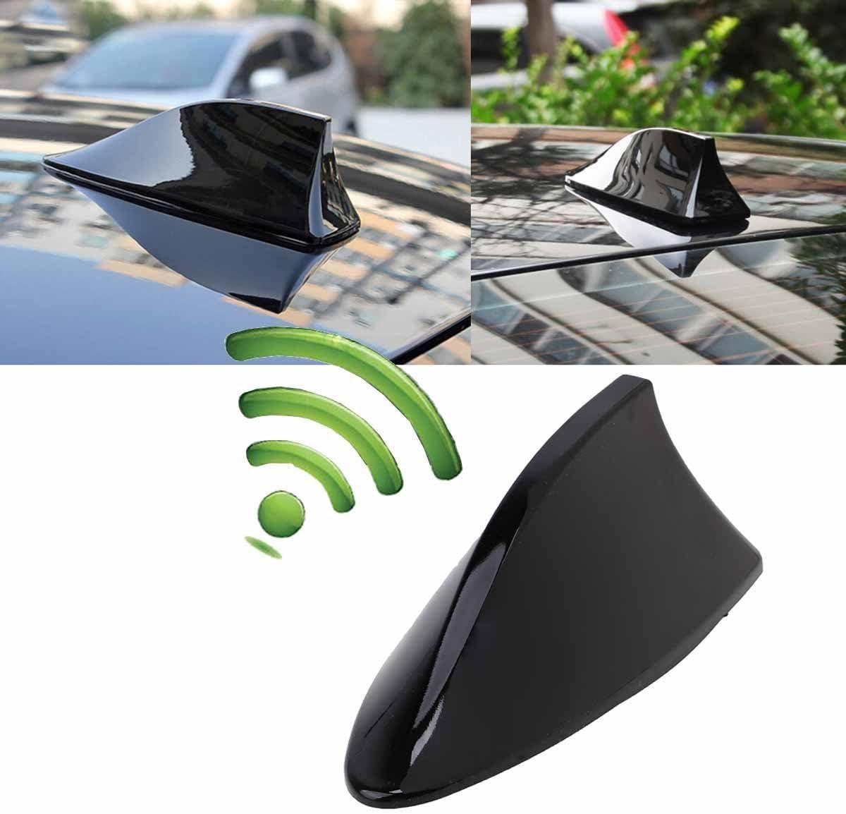 Possbay Car Shark Fin Antenna Aerial Universal AM//FM Radio Signal For Auto SUV Truck Van with Adhesive White