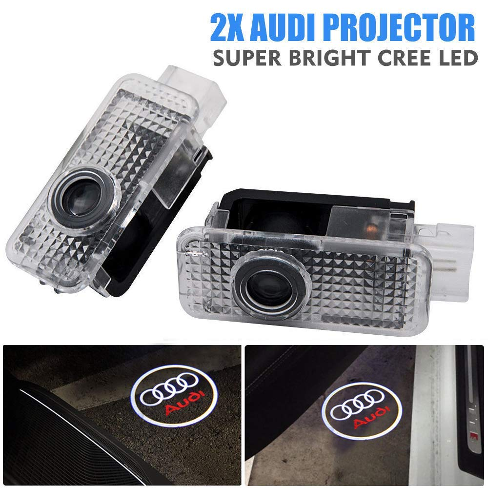 FLOWER205 Door LED Logo Projector Welcome Gate Light Shadow Logo 2pcs LED Welcome Lights of Applicable to Audi A1/ A3/ Q5/ A4/ A7/ A5/ A6/ Q3/ Q7/ A8/ R8/ TT