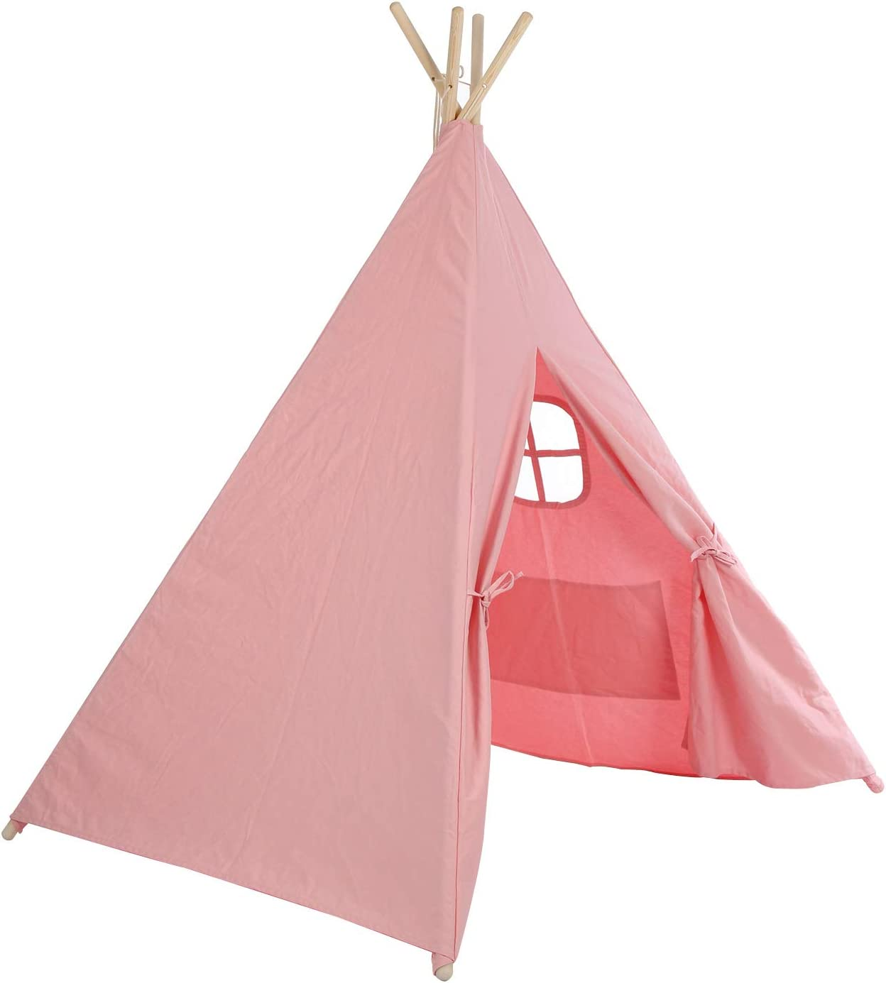 Jueyan Childrens Teepee Play Tent Canvas Kids Traditional Wild Indoor Outdoor Portable Indian Wigwam Black Strip