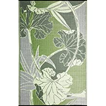 RV Mat Patio Mat (8 ft x 20 ft) Blossom, Reversible design in Green and Grey for under the Awnings or Outdoor Area Rug - by b.b.begonia by b.b.begonia