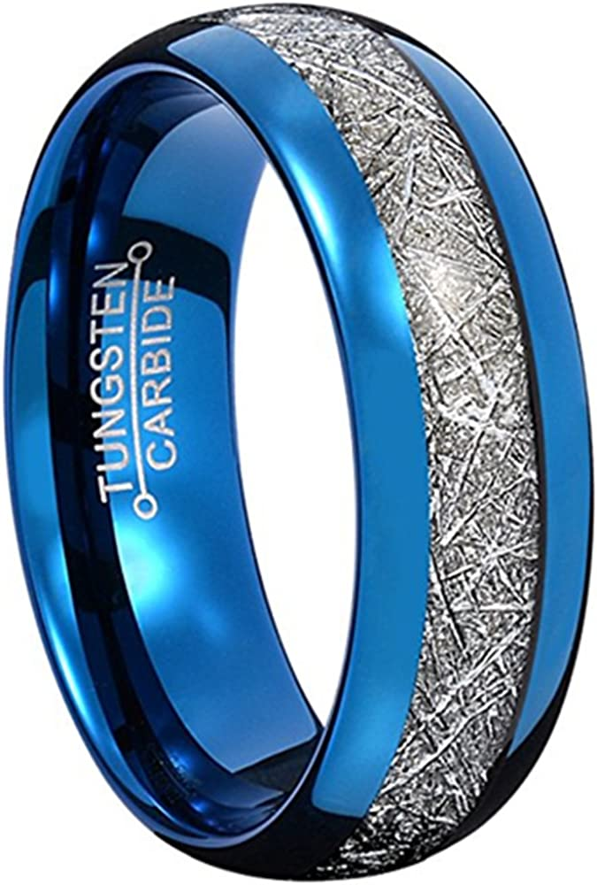 MYVIYSENY Custom Mens 8mm Tungsten Carbide Blue Edge Silver Carbon Fiber Inlay Rings Couple Wedding