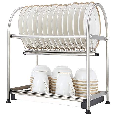 Amazon.com  WiseLife 2-Tier Dish Drying Rack and DrainBoard 17L x ... 8edb9e602a