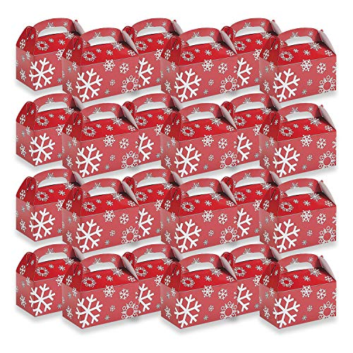 Fun Express Red/White Snowflake Treat Boxes | 24 Count | Great for Christmas Parties, Holiday Celebrations, and Special Occasions (Party Food Christmas)