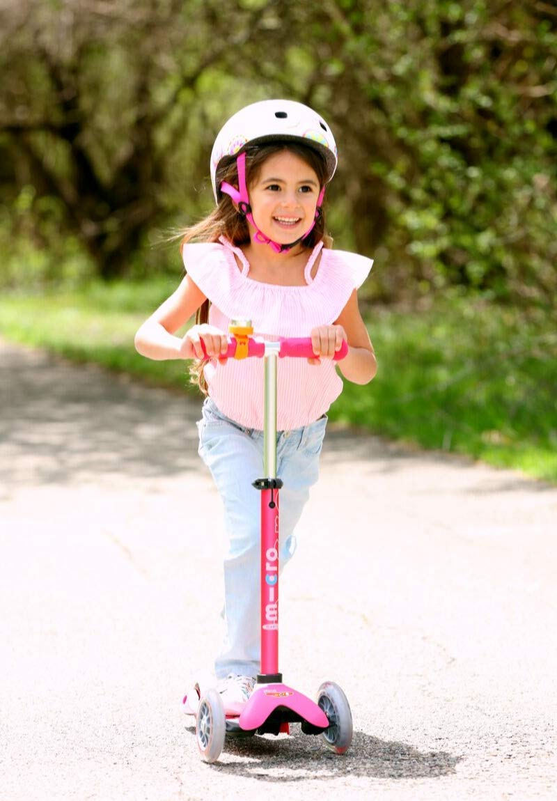 Micro Mini Deluxe 3-Wheeled, Lean-to-Steer, Swiss-Designed Micro Scooter for Kids, Ages 2-5 - Pink by Micro Kickboard