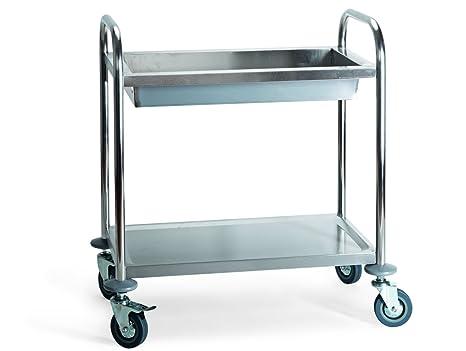 My-Gastro – Carro de Servir para Acero Inoxidable – Carro Auxiliar Carrito de Cocina