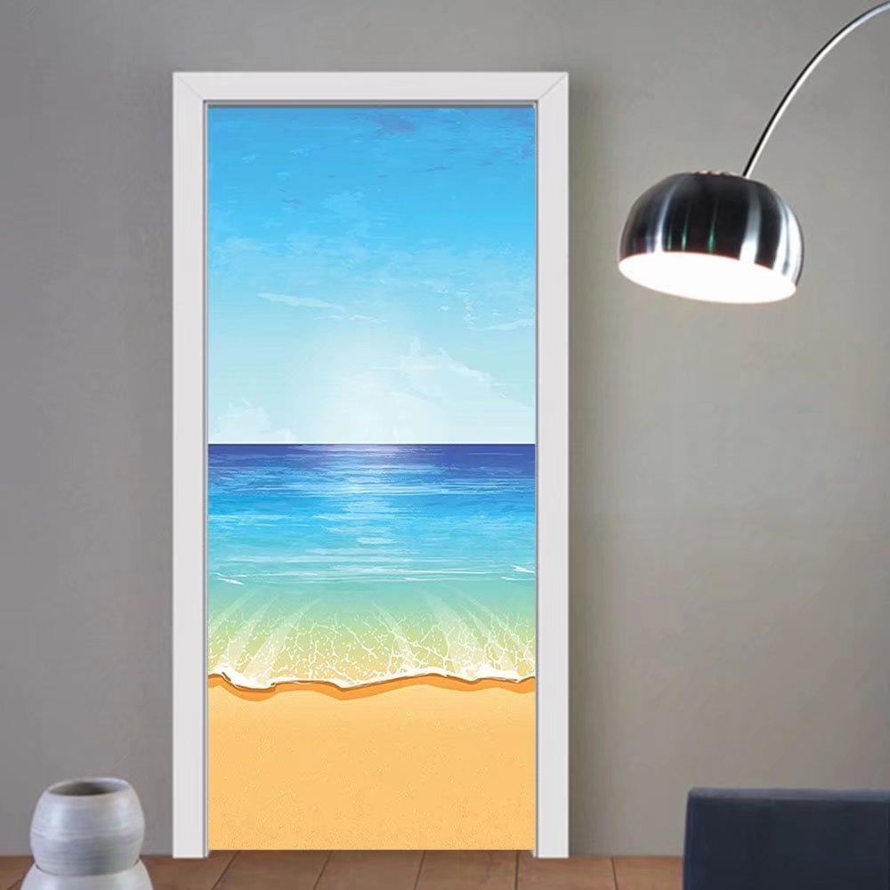 Gzhihine custom made 3d door stickers Ocean Decor Maldives Lagoon Honeymoon Romance Holiday And Vacation Picture Decor For Room Decor 30x79