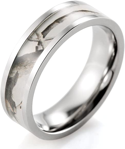 SHARDON Womens 6mm Titanium Pink Tree Camo Ring