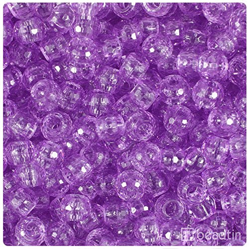 Faceted Barrel - BeadTin Light Amethyst Transparent 9mm Faceted Barrel Pony Beads (500pcs)