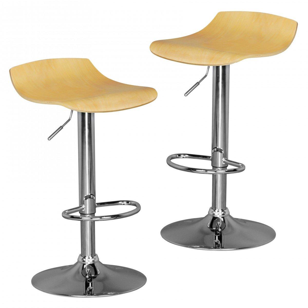 FineBuy Tokyo 2er Set   Barhocker mit 360° drehbarer Sitzfläche aus Holz   Hocker ist höhenverstellbar   Design Barstuhl mit Fußstütze   Tresenstuhl ist verstellbar   Silberfarbenes Chromgestell