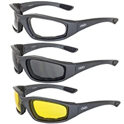 Global Vision Kickback Foam Padded Motorcycle Sunglasses Gunmetal 3 Pairs