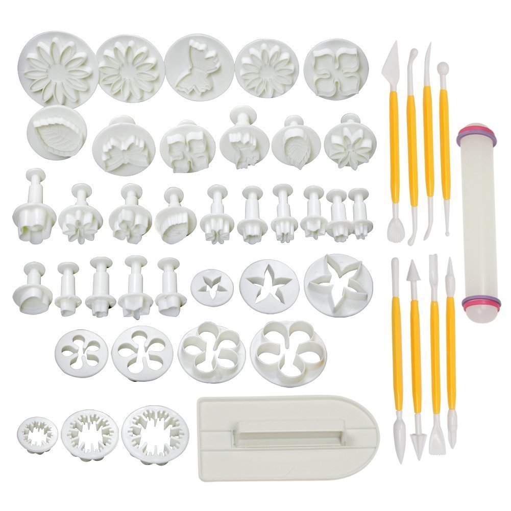 HOSL Flower Fondant Cake Sugarcraft Decorating Kit Cookie Mould Icing Plunger Cutter Tool, White Beety Cake Tools 14 sets (46pcs)