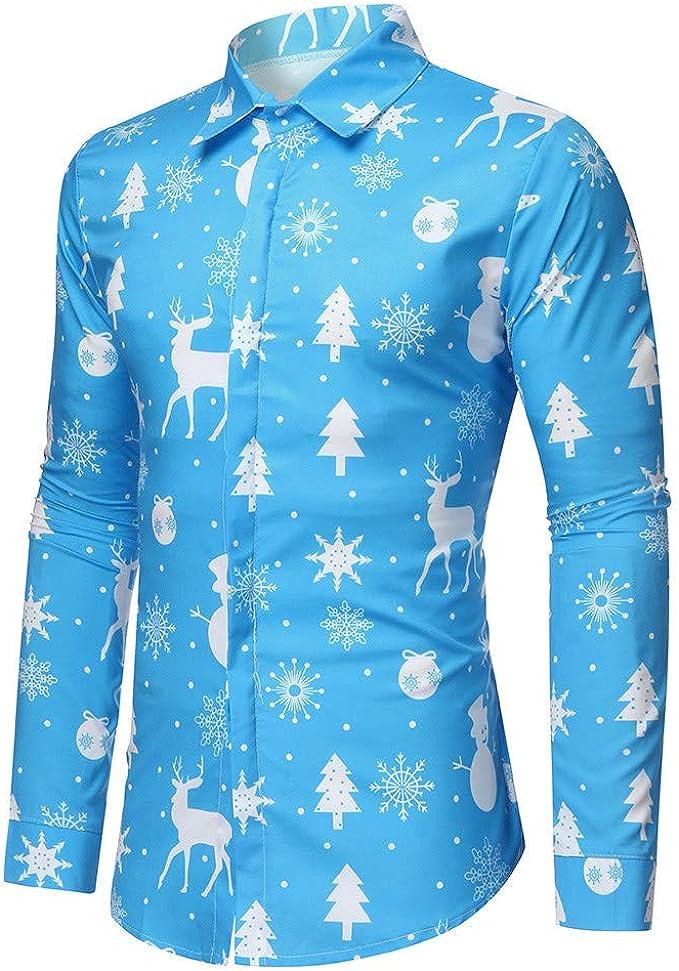 Camisa Navidad Liquidación Camisas Hombre de Manga Larga Casual Shirts Moda Ropa Hombres Corte Slim Camisa de Solapa Printed Blusa Impresión Tops ...