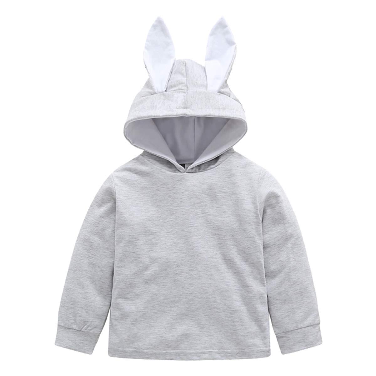 Baby Girl Clothes Hoodie Sweatshirt Solid Long Sleeve Rabbit Ear Outwear