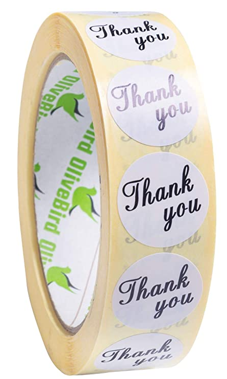 1000 White Wedding Stickers Round Thank You Stickers On Roll Size 25mm  (White)  Amazon.co.uk  Kitchen   Home 2f495d23084b